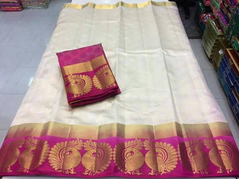 Off White Color Tussar Silk Women's Saree - KRISHNA-kl-25