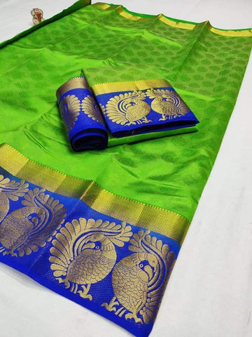 Parrot Green Color Tussar Silk Women's Saree - KRISHNA-kl-26
