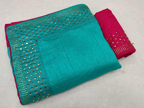 Teal Color Sana Silk Women's Saree - KRISHNA-kl-2
