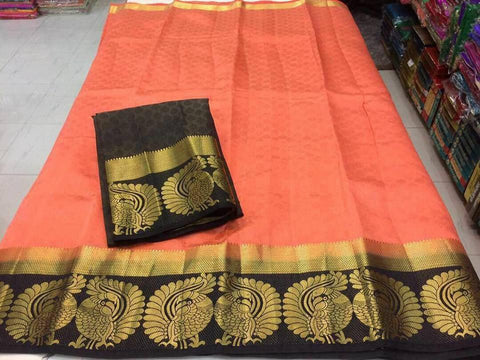 Peach Color Tussar Silk Women's Saree - KRISHNA-kl-32