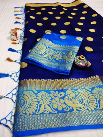 Royal Blue Color Pure Raw Silk Women's Saree - KRISHNA-kl-35