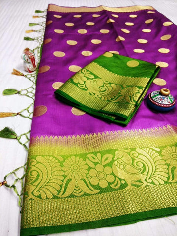 Purple Color Pure Raw Silk Women's Saree - KRISHNA-kl-37