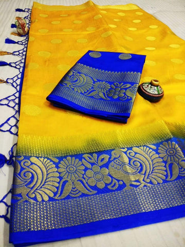 Yellow Color Pure Raw Silk Women's Saree - KRISHNA-kl-38