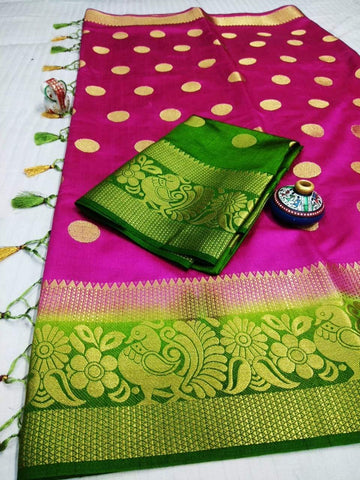 Pink Color Pure Raw Silk Women's Saree - KRISHNA-kl-39