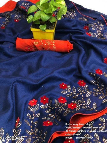 Navy Color Sana Silk Women's Saree - KRISHNA-kl-8