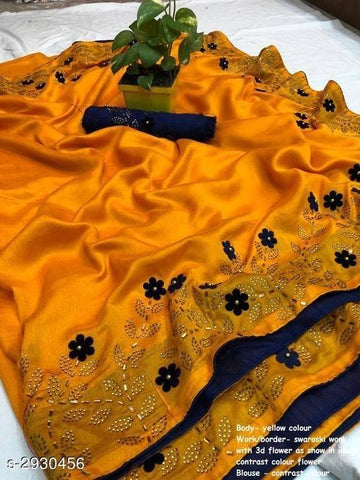 Mustard Color Sana Silk Women's Saree - KRISHNA-kl-9