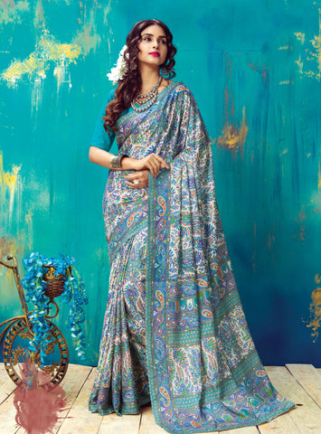 OffWhite Color Pashmina Silk Saree - KSMR19004A