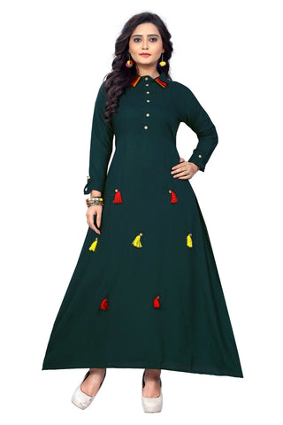 Hunter Green Color Rayon Stitched Kurti - KT-101