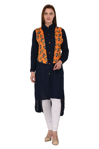 Blue Color Rayon Stitched Kurti - KT-103