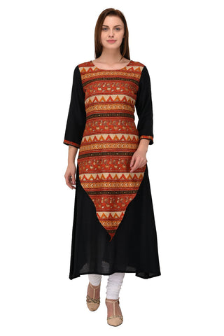 Black Color Rayon Stitched Kurti - KT-104