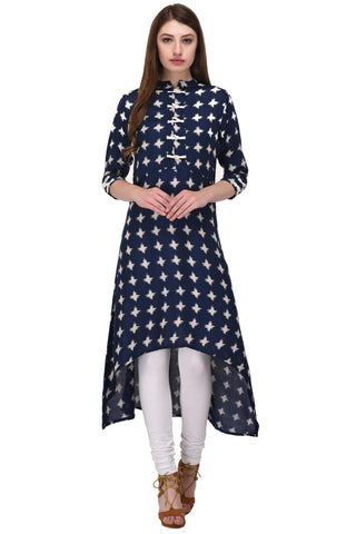 Blue Color Rayon Stitched Kurti - KT-106