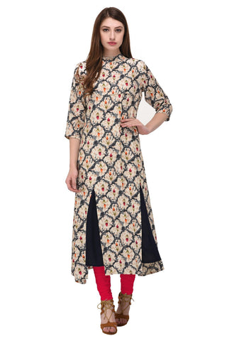Cream Color Rayon Stitched Kurti - KT-107