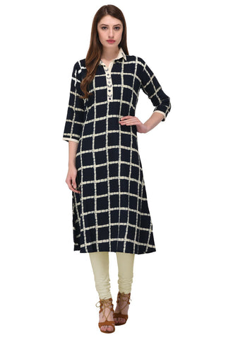 Black Color Rayon Stitched Kurti - KT-108