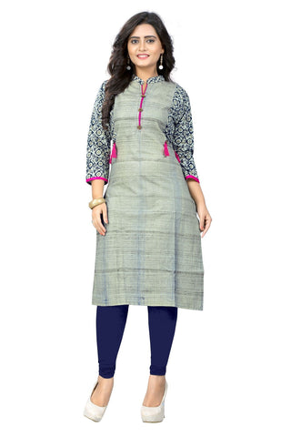 Grey Color Cotton Stitched Kurti - KT-111