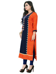 Blue Color Rayon Stitched Kurti - KT-52