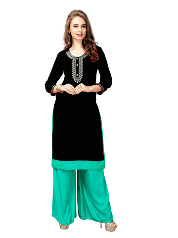 Black Color Slub Cotton Stitched Kurti - KT-66