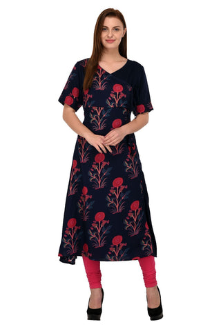 Blue Color Rayon Stitched Kurti - KT-83