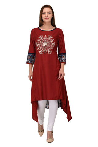 Maroon Color Rayon Stitched Kurti - KT-99