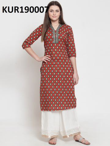 Red Color Rayon Stitched Kurti - KUR190007