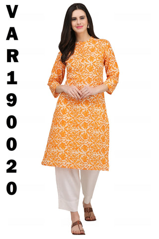 Light Orange Color Cotton Stitched Kurti - KUR190020