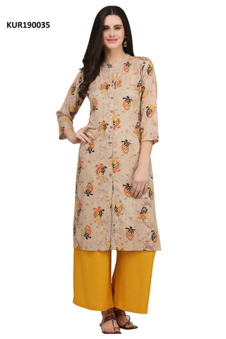 Beige Color Rayon Women's Stitched Kurti - KUR190035