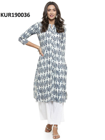 White and Blue Color Cambric Women's Stitched Kurti - KUR190036