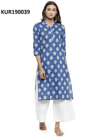 Blue Color Cambric Women's Stitched Kurti - KUR190039