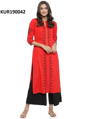 Red Color Rayon Women's Stitched Kurti - KUR190042