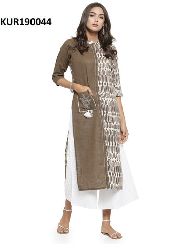 Grey Color Cambric Women's Stitched Kurti - KUR190044
