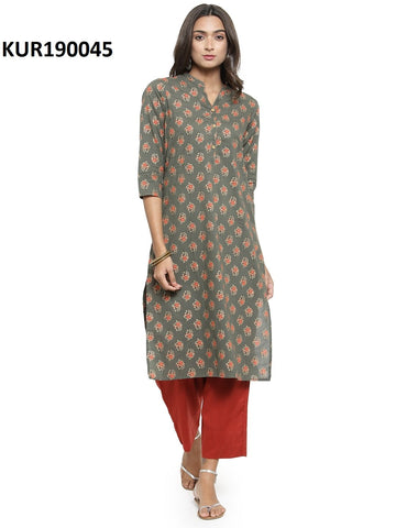 Grey Color Cambric Women's Stitched Kurti - KUR190045