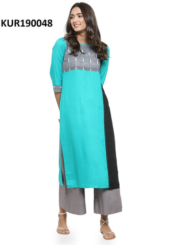 Sky Blue Color Rayon Women's Stitched Kurti - KUR190048