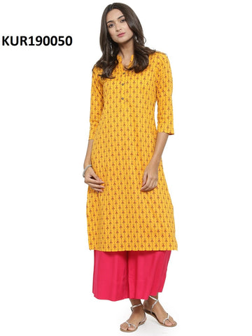 Yellow Color Cambric Women's Stitched Kurti - KUR190050