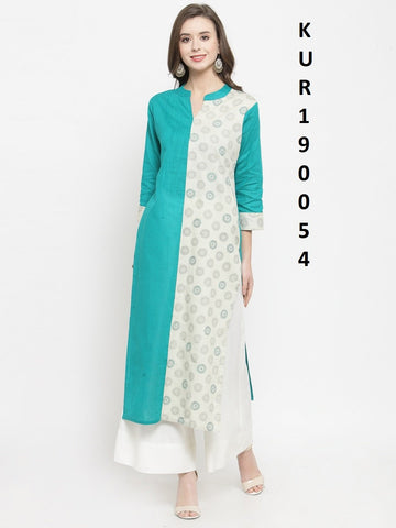 Blue Color Rayon Women's Stitched Kurti - KUR190054