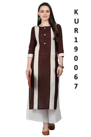Brown Color Cotton Flex Women's Stitched Kurti - KUR190067
