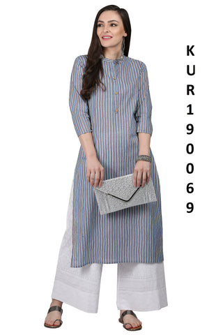 Grey Color Cotton Women's Stitched Kurti - KUR190069