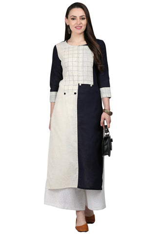 Black and White Color Cotton Slub Women's Stitched Kurti - KUR190074