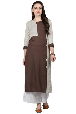 Brown Color Cotton Slub Women's Stitched Kurti - KUR190075