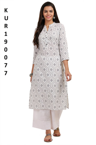 White Color Camric Women's Stitched Kurti - KUR190077