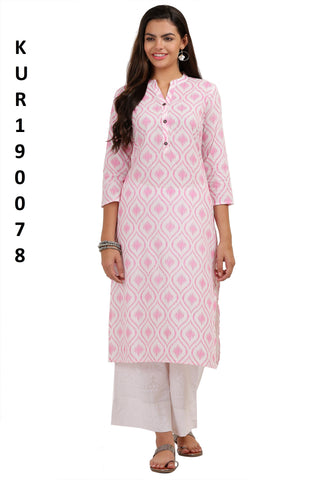 Pink Color Camric Women's Stitched Kurti - KUR190078