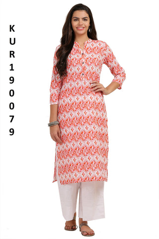 Peach Color Camric Women's Stitched Kurti - KUR190079