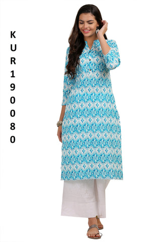 Blue Color Camric Women's Stitched Kurti - KUR190080