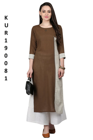Brown Color Cotton Flex Women's Stitched Kurti - KUR190081
