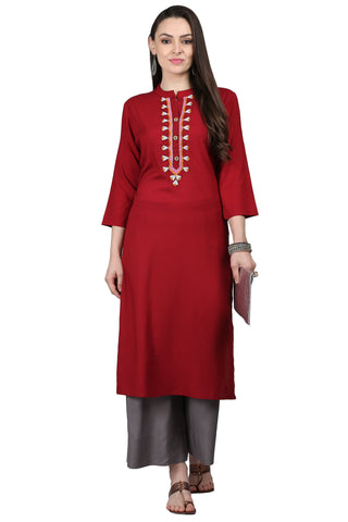 Maroon Color Rayon Women's Stitched Kurti - KUR190087
