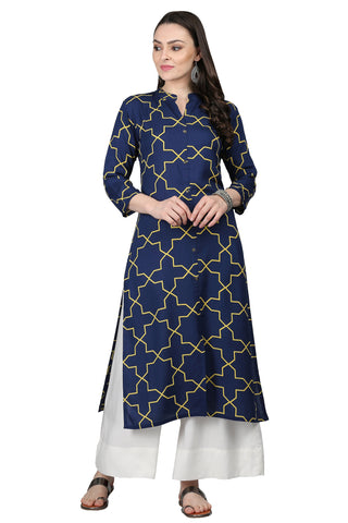 Blue Color Rayon Women's Stitched Kurti - KUR190089