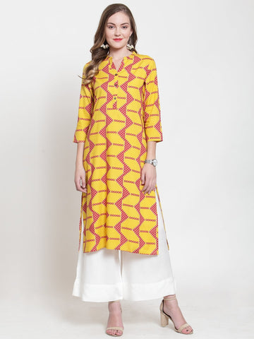 Yellow Color Rayon Women's Stitched Kurti - KUR190091