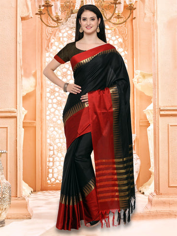 Black and Red Color Cotton Silk Saree - KVS131C