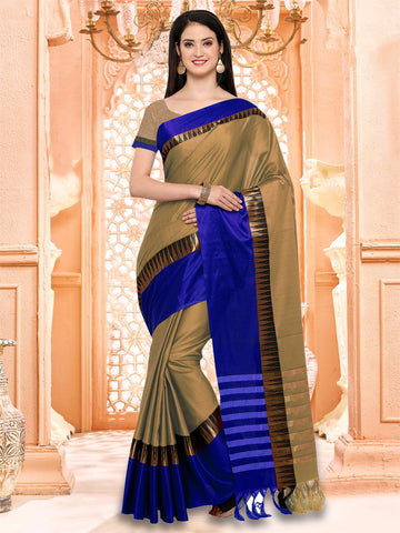 Beige and Blue Color Cotton Silk Saree - KVS131J