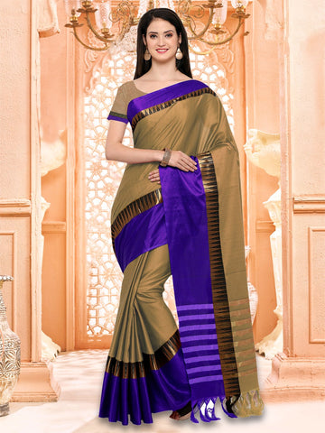Beige and Purple Color Cotton Silk Saree - KVS131L