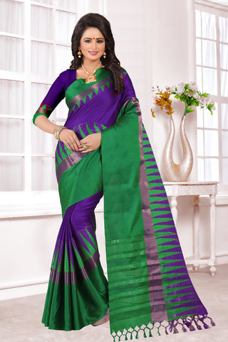 Purple and Green Color Cotton Silk Saree - KVS34003