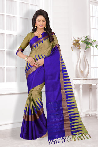 Beige and Blue Color Cotton Silk Saree - KVS34006
